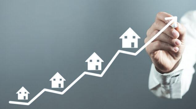 Ansteigende Linie mit Häusern