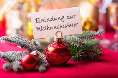 Weihnachtsfeier, Einladung, Christbaumkugeln